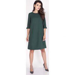 Odzież damska: Zielona Sukienka Trapezowa Mini z Uroczymi Kokardkami
