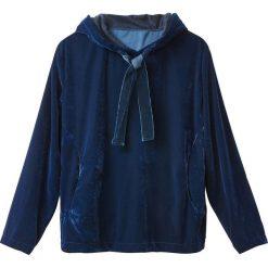 Bluzy rozpinane damskie: Obszerna bluza z weluru