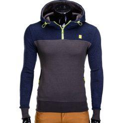 Bluzy męskie: BLUZA MĘSKA Z KAPTUREM B607 – GRANATOWO-GRAFITOWA