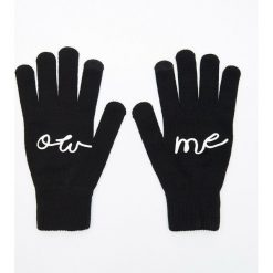 Akcesoria: Pięciopalczaste rękawiczki z aplikacją - Czarny