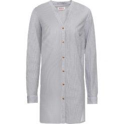 Długa bluzka koszulowa, długi rękaw bonprix szaro-biały w paski. Białe bluzki asymetryczne bonprix, w paski, z koszulowym kołnierzykiem, z długim rękawem. Za 59,99 zł.