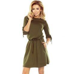 Sukienka z wiązaniem na rękawach sf-176-2. Brązowe sukienki na komunię marki SaF, xl, ołówkowe. Za 129,90 zł.