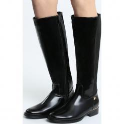 Czarne Kozaki Eradiate. Czarne buty zimowe damskie marki Born2be, z materiału, na obcasie. Za 109,99 zł.