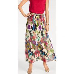 Odzież damska: Spódnica w kolorze kremowym ze wzorem