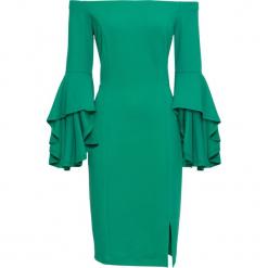 Sukienka z rozkloszowanymi rękawami bonprix zielony miętowy. Niebieskie sukienki rozkloszowane marki bonprix, z nadrukiem. Za 89,99 zł.