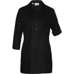 Bluzka tunikowa z domieszką lnu bonprix czarny. Czarne bluzki asymetryczne bonprix, z krótkim rękawem. Za 109,99 zł.