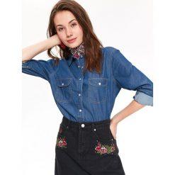 KOSZULA DAMSKA, JEANSOWA. Szare koszule jeansowe damskie marki Top Secret, na jesień. Za 89,99 zł.