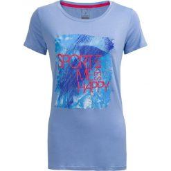T-shirt damski  TSD615 - niebieski - Outhorn. Niebieskie t-shirty damskie Outhorn, z nadrukiem, z materiału. W wyprzedaży za 24,99 zł.