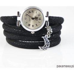 Bransoletki damskie: Zegarek, bransoletka – Księżyc – owijany, czarny