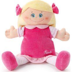 Przytulanki i maskotki: Trudi – Pluszowa lalka w różowej sukience blondynka przytulanka 64420- zabawki dla niemowląt