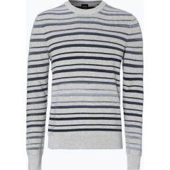 BOSS Casual - Sweter męski z dodatkiem jedwabiu – Akrighe, czarny. Czarne swetry klasyczne męskie BOSS Casual, m, w paski. Za 649,95 zł.