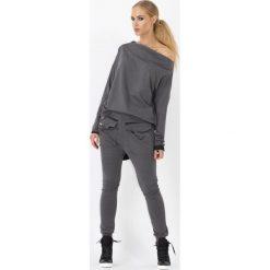 Spodnie dresowe damskie: Grafitowe Spodnie baggy z dużymi kieszeniami