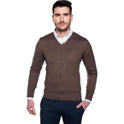 Swetry klasyczne męskie: sweter garros w serek beż