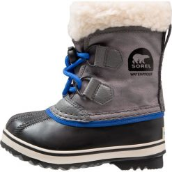 Sorel YOOT PAC Śniegowce city grey. Szare buty zimowe chłopięce Sorel, z materiału. W wyprzedaży za 224,25 zł.