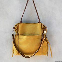AMBER - duża torba - shopper - musztarda i brąz. Żółte shopper bag damskie Pakamera, z tkaniny, na ramię, duże. Za 151,00 zł.