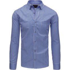 Koszule męskie na spinki: Biało-niebieska koszula męska w kratę z długim rękawem (dx1407)
