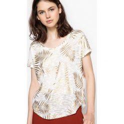 T-shirty damskie: T-shirt z okrągłym dekoltem, z wzorem i krótkim rękawem