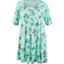 Tunika shirtowa, krótki rękaw bonprix pastelowy miętowy z nadrukiem. Zielone tuniki damskie z nadrukiem bonprix, z krótkim rękawem. Za 79,99 zł.