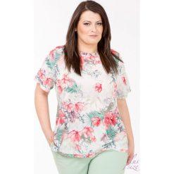 Bluzki asymetryczne: Bluzka w kolorowe kwiaty Plus