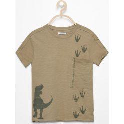 Odzież dziecięca: T-shirt z dinozaurem – Khaki