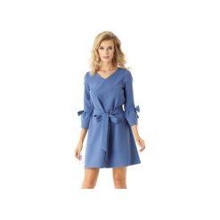 Sukienka trapezowa Melody niebieska ED022-2. Czarne sukienki balowe marki Ella dora, xl, w koronkowe wzory, z koronki, z falbankami, dopasowane. Za 219,00 zł.