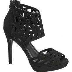 Rzymianki damskie: sandały na obcasie Catwalk czarne