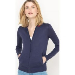 Rozpinany sweter z kontrastującym wykończeniem dekoltu. Szare kardigany damskie marki La Redoute Collections, m, z bawełny, z kapturem. Za 85,05 zł.