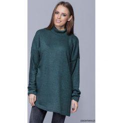 Swetry damskie: Długi ciepły sweter one size-morski H009