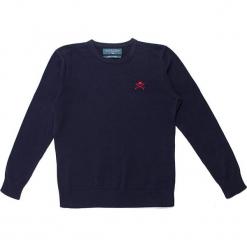 Sweter w kolorze granatowym. Niebieskie swetry chłopięce marki Polo Club Women & Kids, z haftami, z okrągłym kołnierzem. W wyprzedaży za 108,95 zł.