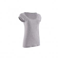Koszulka fitness krótki rękaw damska. Niebieskie bluzki sportowe damskie DOMYOS, xl, z bawełny, z krótkim rękawem. Za 19,99 zł.