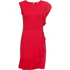 Sukienka z dżerseju z falbaną bonprix ciemnoczerwony. Czerwone sukienki na komunię marki bonprix, z dżerseju. Za 59,99 zł.