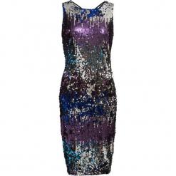 Sukienka na party bonprix niebiesko-lila-turkusowy w paski. Niebieskie sukienki na komunię marki bonprix, z nadrukiem. Za 124,99 zł.