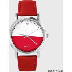 Zegarek - Polska flaga - skóra, czerwony. Czerwone zegarki męskie Pakamera. Za 139,00 zł.