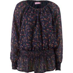 Bluzka z odsłoniętymi ramionami, długi rękaw, z kolekcji Maite Kelly bonprix ciemnoniebieski w kwiaty. Niebieskie bluzki asymetryczne bonprix, w kwiaty, z koronki, z kołnierzem typu carmen, z długim rękawem. Za 59,99 zł.