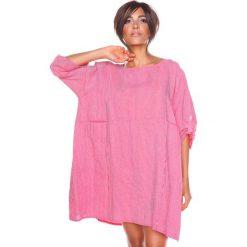 """Sukienki hiszpanki: Lniana sukienka """"Mia"""" w kolorze czerwono-białym"""