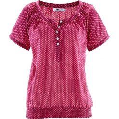 Bluzki damskie: Bluzka z krótkim rękawem bonprix jeżynowo-biały w groszki