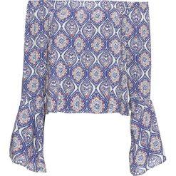 Bluzka bonprix czerwono-niebiesko-biały. Niebieskie bluzki z odkrytymi ramionami marki bonprix. Za 49,99 zł.