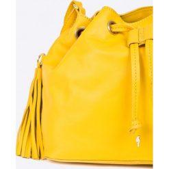 Ochnik - Torebka skórzana. Żółte torebki klasyczne damskie Ochnik, w paski, z materiału, średnie. W wyprzedaży za 299,90 zł.