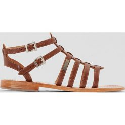 Rzymianki damskie: Płaskie skórzane sandały-rzymianki, Hic