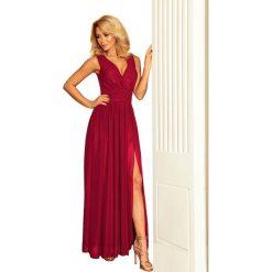 Śliwkowa Sukienka Wieczorowa Maxi z Dekoltem V. Fioletowe długie sukienki marki Molly.pl, na studniówkę, l, wizytowe, z długim rękawem, dopasowane. Za 299,90 zł.