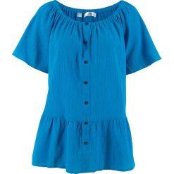 """Bluzka bawełniana """"carmen"""" z kreszowanego materiału bonprix lodowy niebieski. Niebieskie bluzki asymetryczne bonprix, z bawełny, z kołnierzem typu carmen. Za 49,99 zł."""