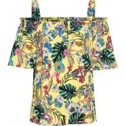 Bluzki damskie: Bluzka w kwiatowy wzór bonprix żółty z nadrukiem