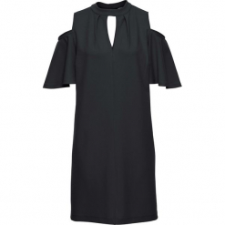 Sukienka z wycięciami bonprix czarny. Czarne sukienki z falbanami marki bonprix. Za 129,99 zł.