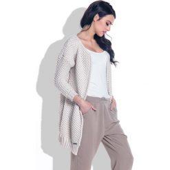 Swetry damskie: Beżowy Kardigan bez Zapięcia ze Strukturalnym Splotem