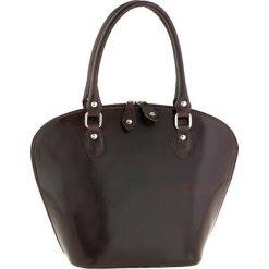 Torebki klasyczne damskie: Skórzana torebka w kolorze ciemnobrązowym – 38 x 28 x 14 cm