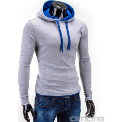 BLUZA MĘSKA Z KAPTUREM CAMILO - SZARO-NIEBIESKA. Niebieskie bejsbolówki męskie Ombre Clothing, m, z bawełny, z kapturem. Za 49,00 zł.