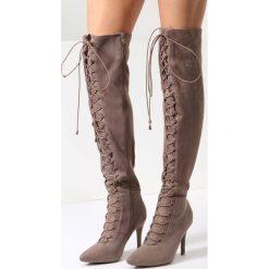 Brązowe Kozaki Flamingo. Brązowe buty zimowe damskie marki Kazar, ze skóry, przed kolano, na wysokim obcasie. Za 119,99 zł.