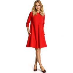 Sukienki: Czerwona Sukienka Trapezowa z Kontrafałdą
