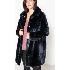 Płaszcze damskie pastelowe: Prosty płaszcz ze sztucznego futerka
