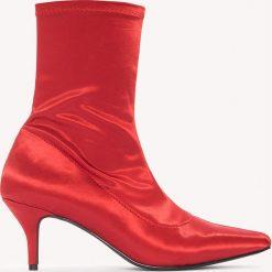 Botki damskie lity: NA-KD Shoes Satynowe botki z miękką cholewką - Red